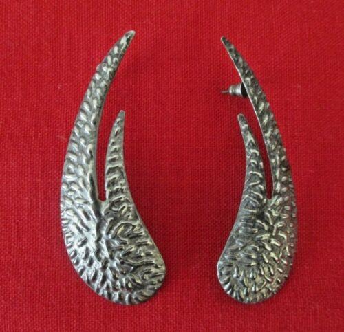 "Large Textured Art Deco Modified Swirl Statement Post Earrings 2 3/4"" Vtg  AZ19"