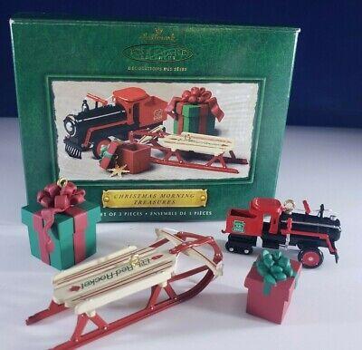 Hallmark Ornament CHRISTMAS MORNING TREASURES 4 Piece Set Train Sled Presents