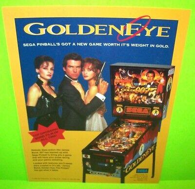 GOLDEN EYE 007 James Bond Pinball Machine Flyer Original Game Promo Artwork SEGA