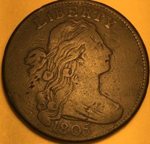 1805 Recut 5 Draped Bust Large Cent, Fine/Very Fine, S-267 R-1