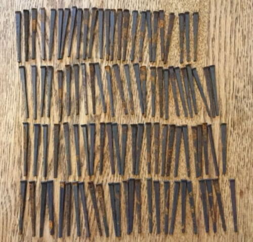 "Vintage Lot 100 2"" Square Cut Nails - Rust Patina - Crafts"