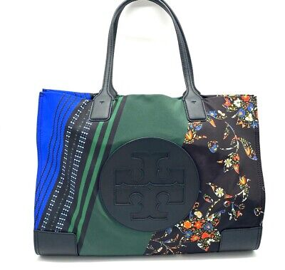 AUTH NWT TORY BURCH ELLA Mixed Prints Oversize Logo Large Tote In Sacred Floral