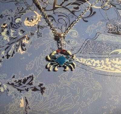 Crab Horoscope Silver Charm Chain Necklace   Free Ship