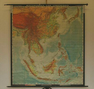 Wandkarte Japan Indonesien Vietnam Thailand Korea China 1963 193x212 vintage map (Karte Indonesien)
