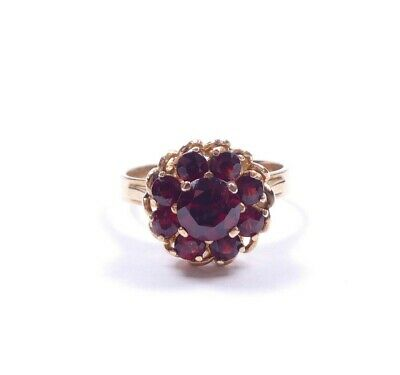 Vintage Ring Garnet Flower Cluster 9 Carat Yellow Gold 4.1g