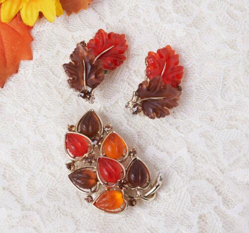 VTG Lisner Orange Brown Molded Lucite Rhinestone Leaf Motif Pin Brooch Leaf Set