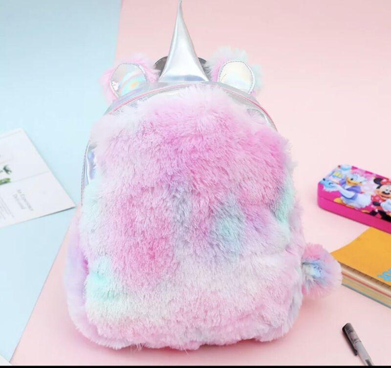 Kids unicorn backpack,plush,soft synthetic,new,pink and blue