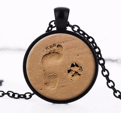 Footprints in the Sand Pawprints Necklace Gift Dog Lovers Dogs Black Chain