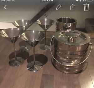Stainless Steal martini glasses, wine cooler, and ice bucket