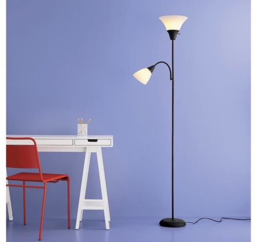 6ft  Combo Floor Lamp Tall Reading Lamps 2 Lights Bright cle