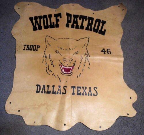 Boy Scouts BSA Troop 46 Wolf Patrol Dallas Texas  Leather Banner