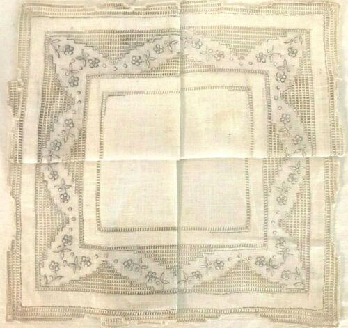 Vintage Antique Madeira Hand Made Handkerchief - Square Center w/ tiny flowers