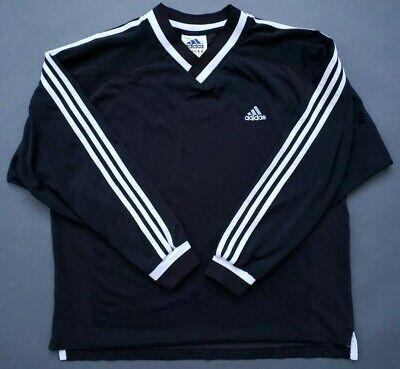 e2c4a9bcbdc adidas Long Sleeve Soccer Jersey 3 Stripe V Neck Shirt Maradona Pele VTG  80s 90s