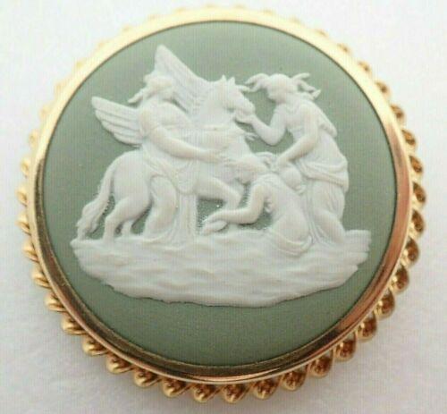 Vintage Wedgwood England R68 Pegasus Scene Gold Filled Pendant Brooch Pin