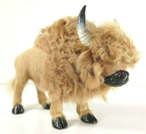Buffalo Bison Figurine Real Fur Wild Animal Replica Realistic