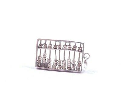 Vintage Silver Abacus Charm Moving Counters Small 925 Sterling 1gram
