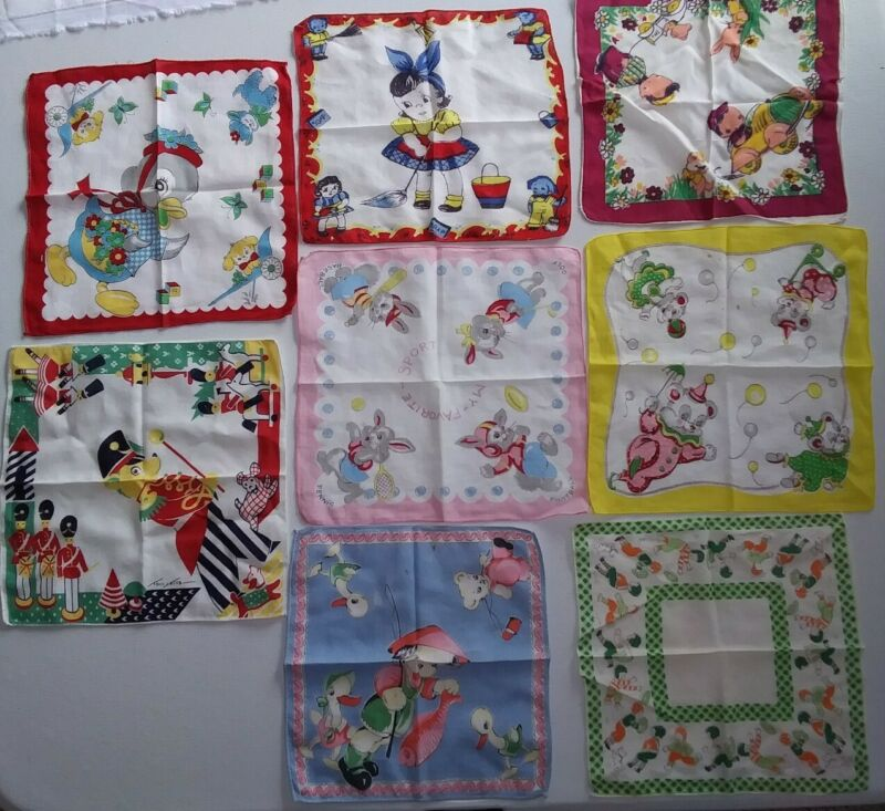 Vintage Childrens Hanky Child's Hankie Lot of 8