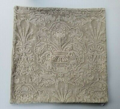 Pottery Barn Melodie Embroidered Taupe Pillow Cover 22