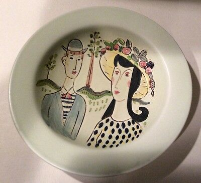 Vintage Hand Painted Rorstrand Sweden Bowl Man Woman Girl Couple Fruit Tree