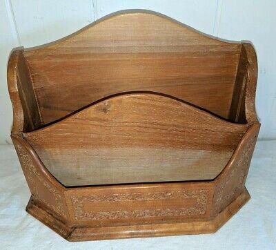 Gorgeous Vintage Olive Carved Wood Letter Holder Desk Organizer