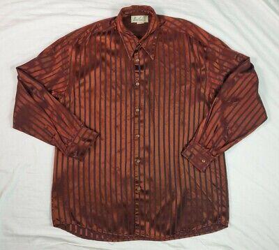 1970s Men's Shirt Styles – Vintage 70s Shirts for Guys 1970's Vintage Disco Bertelli USA Mens Button Front Shirt Copper Shimmer M Rayon $27.00 AT vintagedancer.com