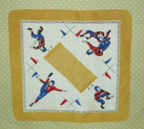 Vintage FOOTBALL Hankie Hanky~Handkerchief -Mid CENTURY 1940s 1950s~Retro