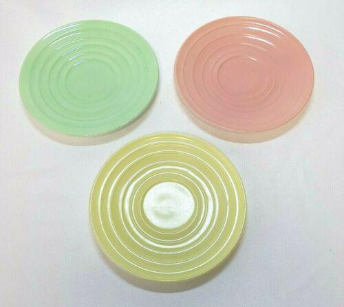 "Fire King Milk Glass Vitrock 5.5"" Saucers Pink Green Yellow"