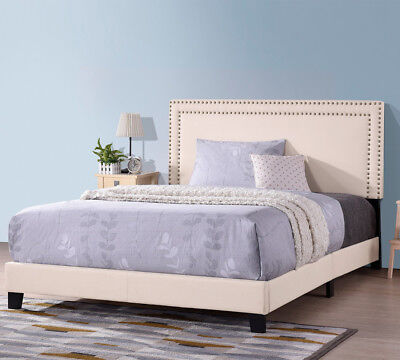 Full/Queen/King Size Upholstered Platform Bed Frame with Wooden Slats & Nailhead