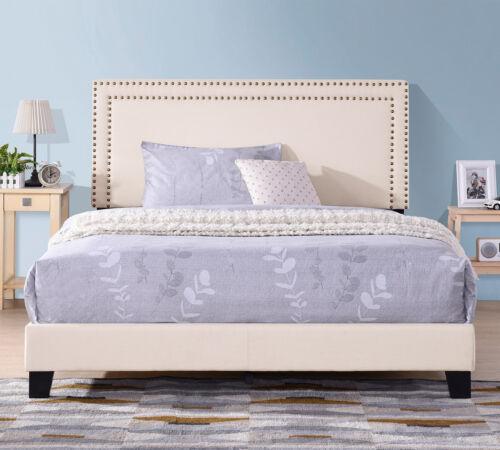 Full Size Bed Frame Upholstered Platform Bed with Wooden Sla