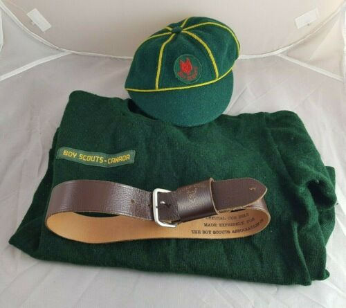 Vintage Cub Scouts Boy Scouts Canada Uniform Belt Hat and Sweater Wolf Cubs