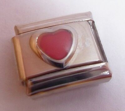 PINK LOVE HEART Italian Charm June October Birthstone fits Classic Bracelets 9mm ()
