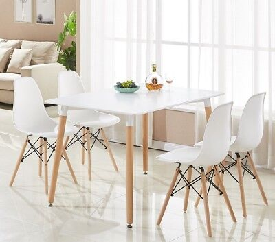 Eiffel Halo Dining Set Table Rectangle Large + 4 Chairs White Wooden Modern Home