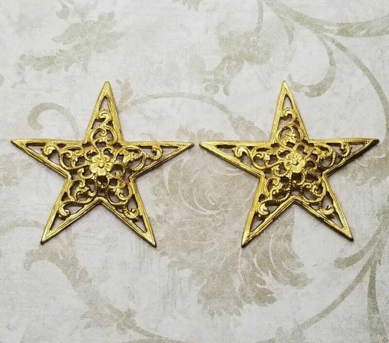 Raw Brass Dimensional Filigree Star Stamping (2) - RAT3791DP