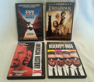 4 DVDs Lord of the Rings The 2 Towers, 127 Hours, Reservoir Dogs, Amer History X