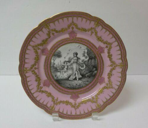 "19th C. French Portrait 9.5"" Gilt Cabinet Plate, Woman & Cherub"