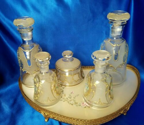 FANCY ANTIQUE FRENCH? VANITY SET, HAND PAINTED, GOLD GILT, ORMOLU, BOTTLES,TRAY