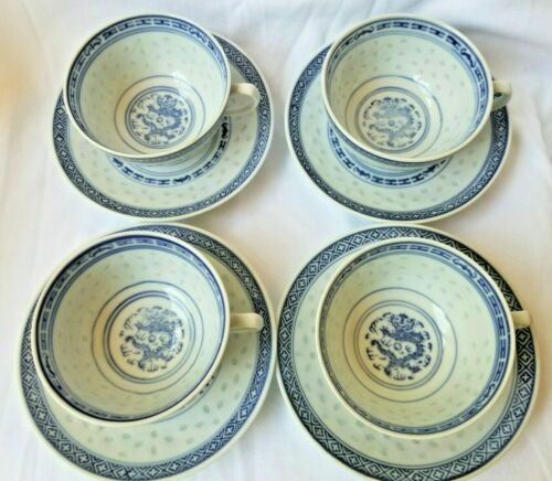 Chinese Dragon Rice Eye 4 CUPS & SAUCERS SETS Jingdezhen Blue & White Vintage