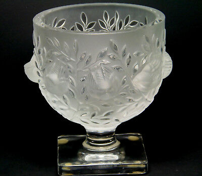 LALIQUE  France Elizabeth crystal glass bowl/vase birds & leaves pattern