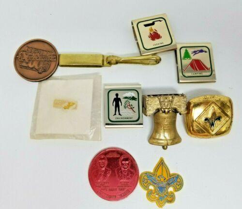 Vintage Set of 10 Boy Scouts Belt Loop Awards Liberty Bell Pin Coins Metal Slide