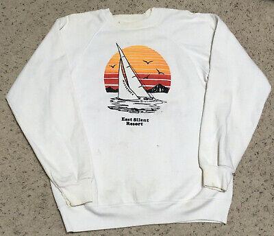 Vintage 80s Sweatshirt East Silent Resort Minnesota Sailing Yacht Raglan L USA