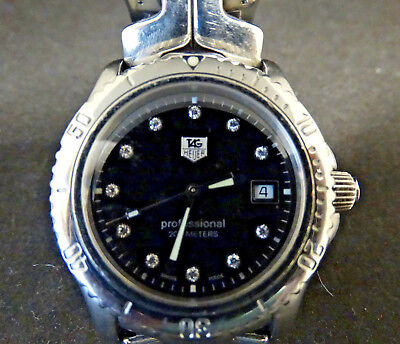 Tag Heuer Professional Black Dial w/ Diamonds Stainless Steel 200 Meters Watch Black Dial Black Meter
