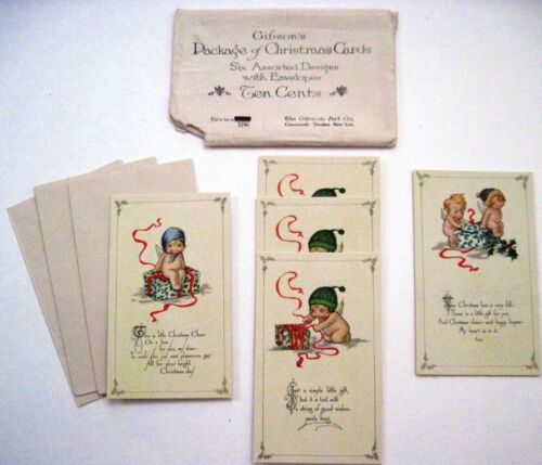 Precious Lot (5) Little Christmas Note Cards w/ Darling Little Angels w/ Hats *