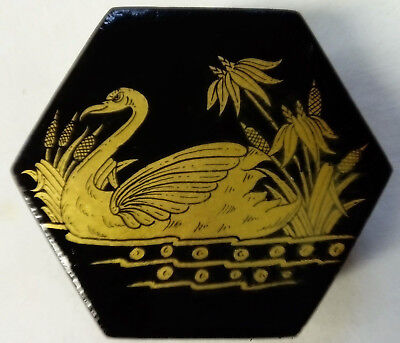 Vintage Papier Mache, Lacquered & Hand Painted, Hexagonal Keepsake Box With Swan