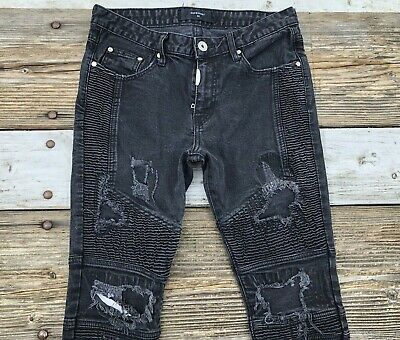 Represent Biker 29x30 Slim Tapered Distressed Destroyed Denim Cotton Black