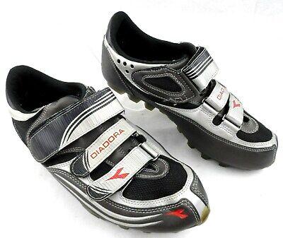 9b7f7a45d Diadora Cycling Shoe Mountain Bike Triple Straps Black   Silver Womens 8  Euro 41