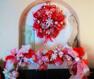 Christmas Deco Mesh LED Lit Candy Cane Wreath & Garland - Buy 1 or 2 Piece Set  ()