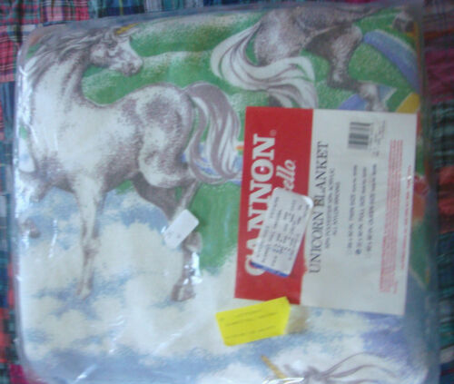 NEW Vintage Unicorns WOW Cannon Monticello 72X90 FULL Blanket DS Rainbows Clouds