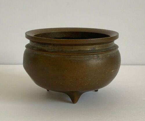 Antique Chinese Three-Legged Bronze Brass Censer Incense Burner