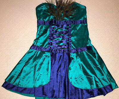 NAUGHTY SEXY HALLOWEEN COSPLAY WOMENS GREEN SHORT SEXY LAS VEGAS PEACOCK DRESS - Peacocks Halloween Costumes