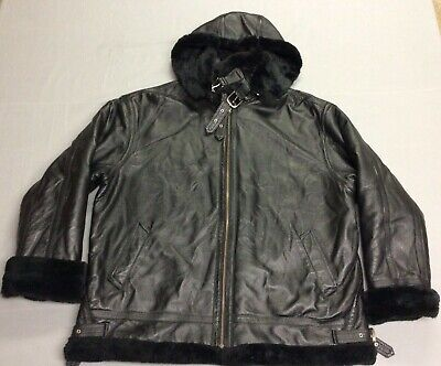 VINTAGE PROTOCOL PAN UNITED HOODED BLACK MOTORCYCLE LINED LEATHER JACKET MENS XL